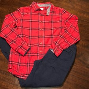 Boys Outfit, Cat & Jack Flannel &Faded Glory Pants